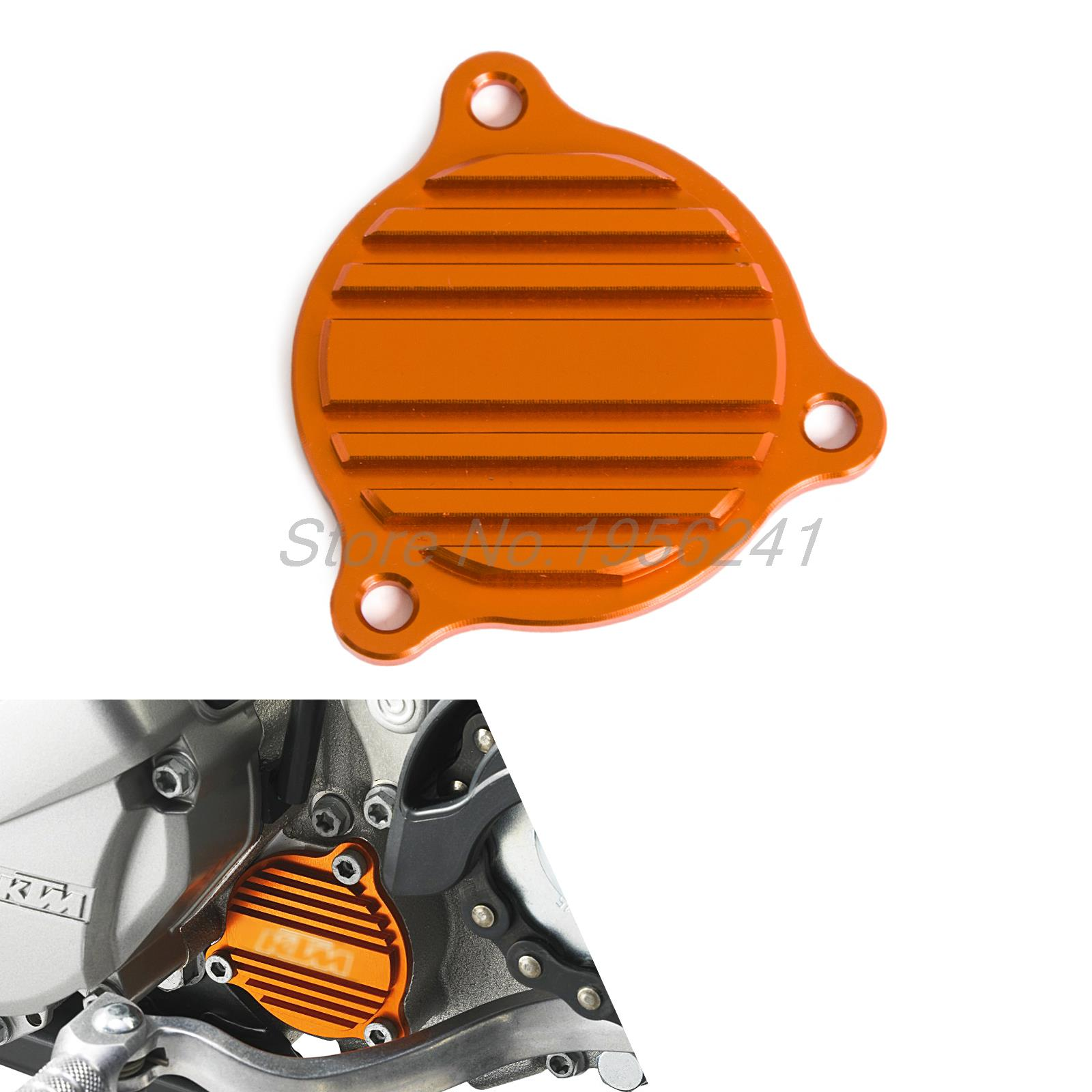 CNC Oil Filter Cover Fits KTM 400 450 500 530 EXC EXC-R SIX DAYS XCR-W SMR XC-F XC-W EXC-R orange cnc billet factory oil filter cover for ktm sx exc xc f xcf w 250 400 450 520 525 540 950 990