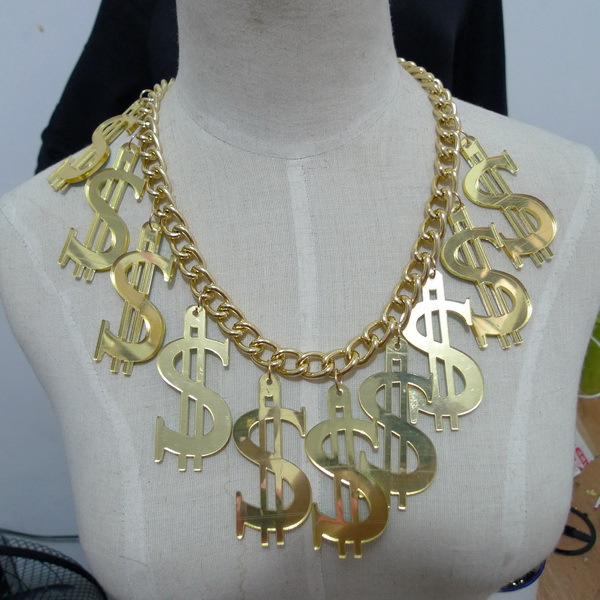 Hot Selling Rock Hip Hop $ Dollar Money Symbol Sign Women Pendant Chain Necklace Jewelry