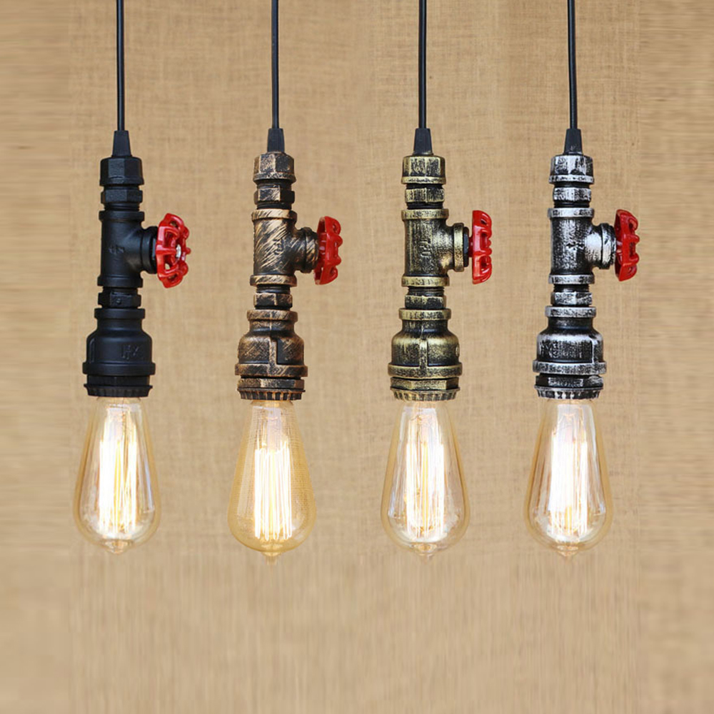4 style Loft industrial Iron water Pipe steam punk Vintage pendant lamp cord E27 led lights for personalized bar restaurant cafe vintage industrial retro pendant lamp e27 holder loft style iron water pipe edison droplight for restaurant bar cafe lighting