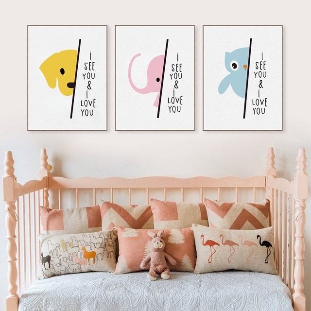 Cartoon Elephant Canvas Painting Sweet Nursery Wall Art Pictures Print And Poster Modern Baby Kids Room