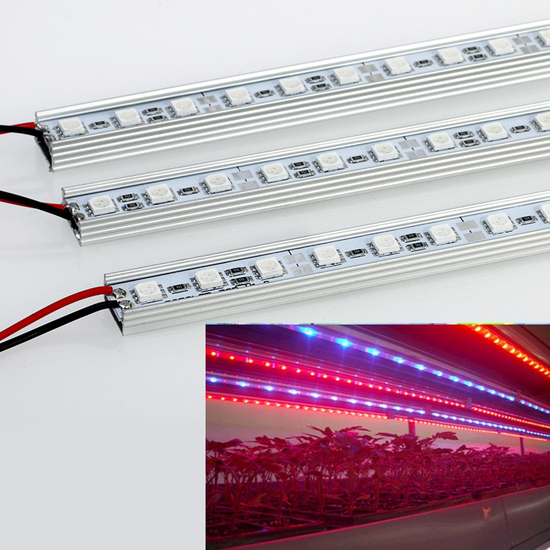 10pcs/lot 7W 27Red 9Blue SMD5050 Led Grow Strip Light For Flowers Plant And Hydroponics System DC12V Grow Lamps Free Shipping