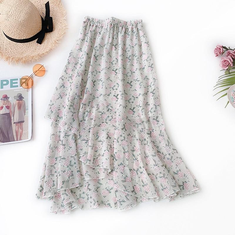 Wasteheart Spring Blue Khaki Women Skirt Floral Asymmetrical Casual High Waist Ankle Length Long Skirt Chiffon Clothing Ruffles