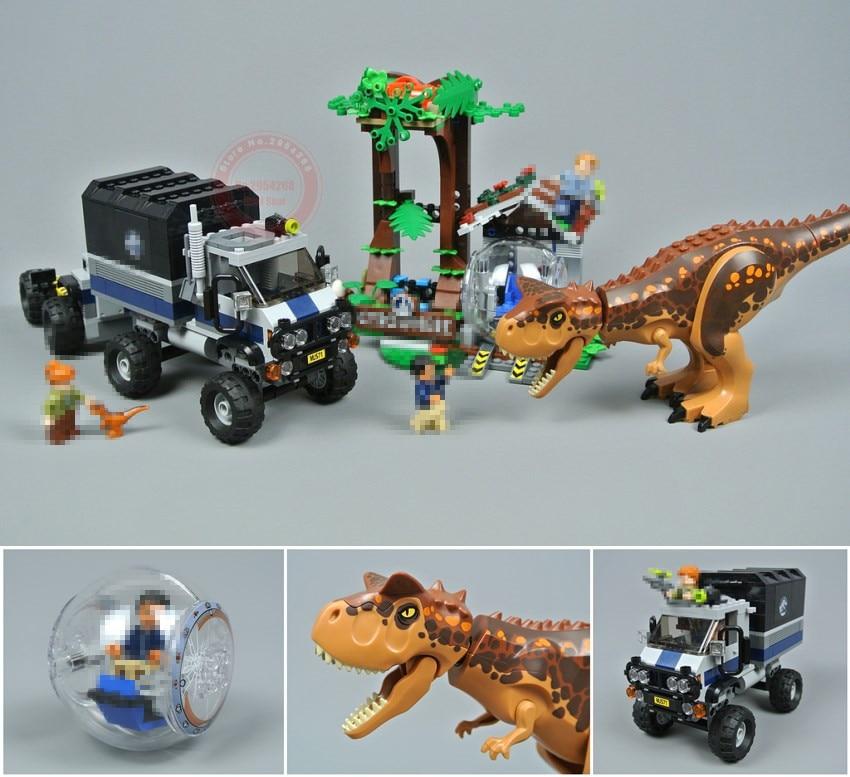 New Jurassic Carnotaurus Gyrosphere Escape fit legoing Jurassic world park city figures 75929 Model Building Block Toy Gift kid бур stayer 29250 210 08