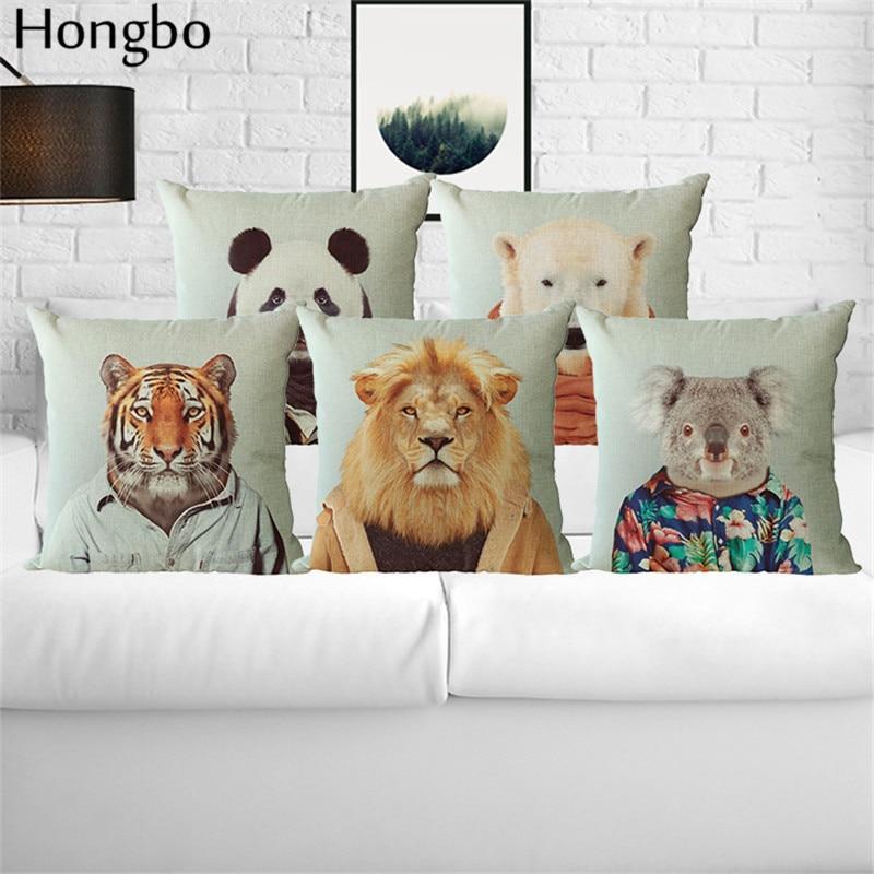 Hongbo Animal Cushion Cover Dog Panda Lion Portrait for Children Christmas Decorative Sofa Throw Pillow Car Chair Case Almofadas