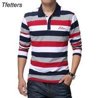 TFETTERS Autumn Men's T shirt Stripe Pattern Letters Print Long Sleeved T shirt Turn down Collar Shirt T shirt Big Size M 5XL