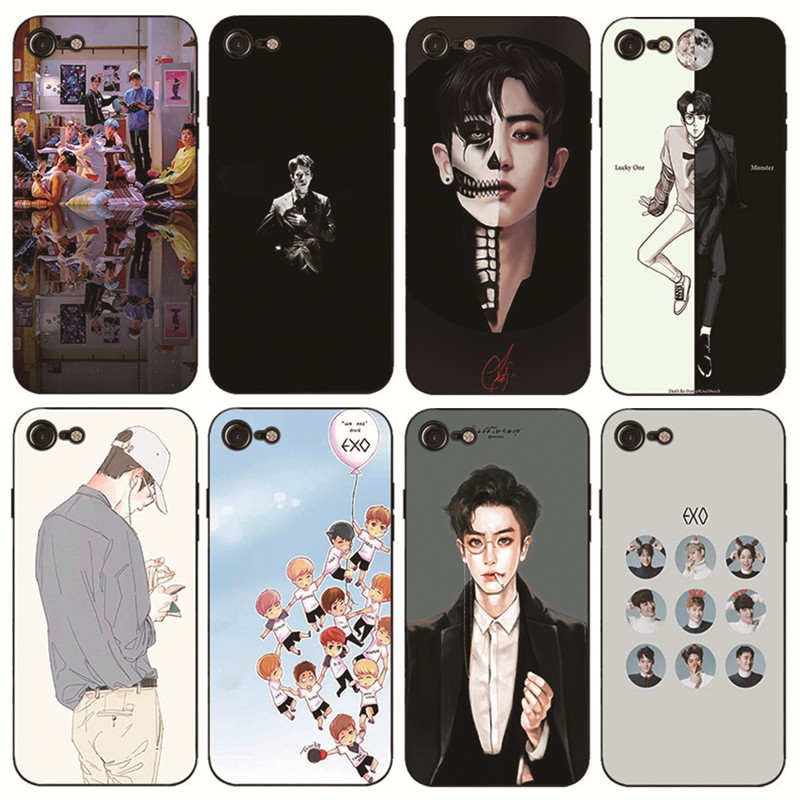 KMUYSL <font><b>Kpop</b></font> exo Hard and transparent Coque Shell Phone <font><b>Case</b></font> for Apple <font><b>iPhone</b></font> 8 7 6 6S Plus X 10 5 5S SE 5C 4 4S Cover image