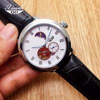 Xindi Men Ultra Thin Fashion Fully Automatic Watch Mechanical Moon Phase Tourbillon Leather Wrist Watches Waterproof Clocks New