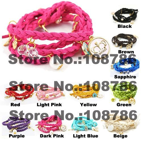 12pcs Mix Color colorful mutilayer Wristband Braid Leather Bracelet Knit Bracelet jewelry with C letter charms