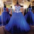 2017 Chegada Nova Prom Vestidos de Baile Azul Royal Elegante Frisada Tulle Puffy Quinceanera Vestidos Baratos Simples Vestidos de Baile