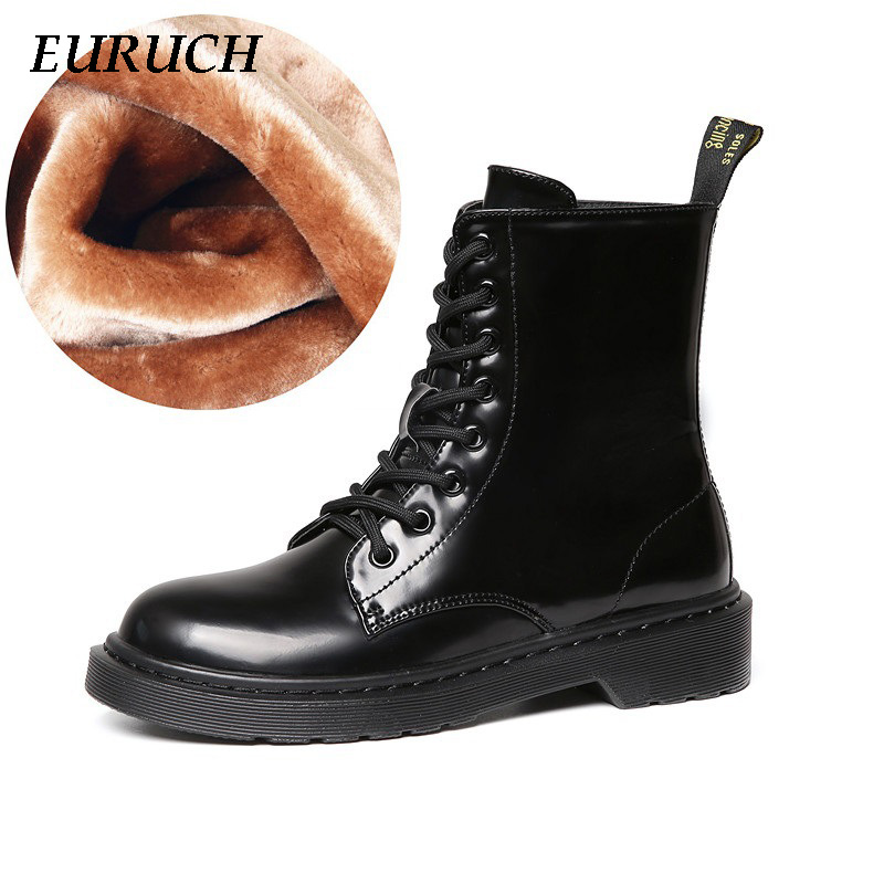New Fashion Women Boots Female Winter Shoes Woman Warm Snow Boots PU Leather & Nubuck Fur Plush Ankle Boots Black Size 35-40