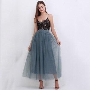 Image 4 - מסיבת רכבת אופנה נשים תחרת נסיכת פיות 4 שכבות 100 cm וואל טול חצאית נפוחה Bouffant אופנה חצאית ארוך טוטו חצאיות