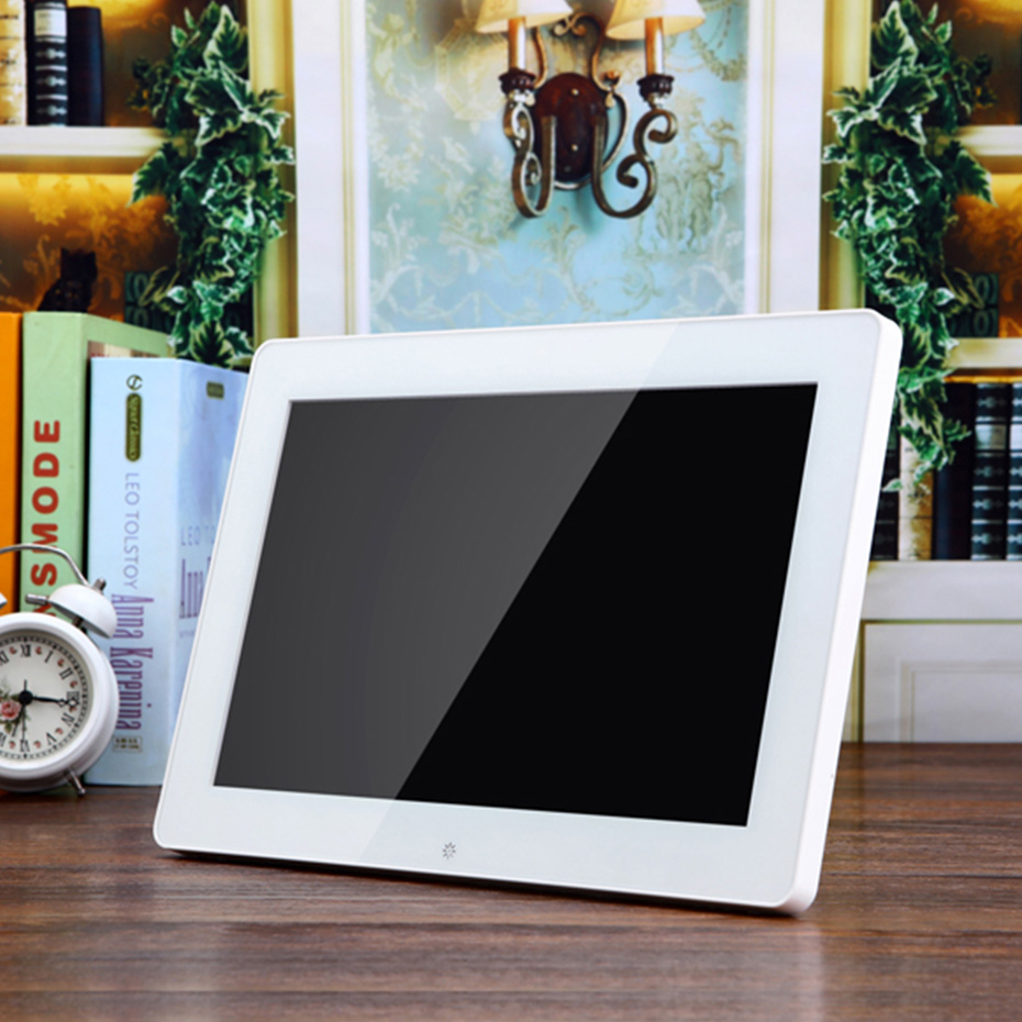 12 LED Digital Photo Frame 1024*600 High Resolution Picture Frame With Alarm Clock Music MP3 MP4 Movie Player Remote Control didital photo frame 15 front touch buttons multi language led screen with remote control for mp3 mp4 movie player page 1