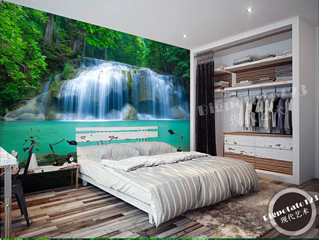 Lovely The Latest 3D Murals, Beautiful Virgin Forest Waterfall Scenery , Living  Room TV Sofa Bedroom Wall Paper In Wallpapers From Home Improvement On ...