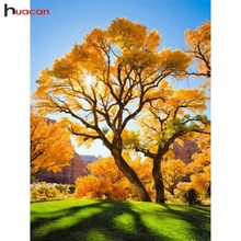 Huacan Diamond Painting Trees Picture With Rhinestones Diamond Mosaic Autumn Scenery Full Square Diamond Embroidery Landscape(China)
