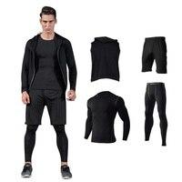 Readypard Men 2017 Hot Sale Sport Set Summer Autumn Wear Tops Uniforms Pants Sport Fitness Black