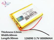Batterie au lithium polymère, 126090 V, 3.7 mah, à monter soi-même, charge d'urgence mobile, 8000