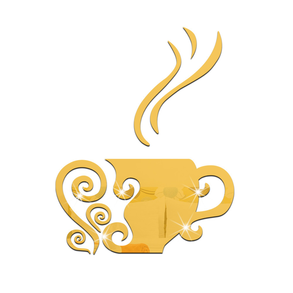 3D Coffee Cup Acrylic Mirror Wall Stickers Casual Coffee Shop Living ...