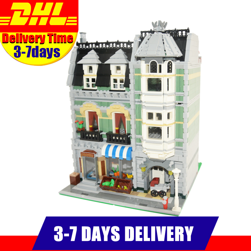 2018 MOC LEPIN 15008 2462Pcs City Street  Green Grocer Model Building Kits Set Blocks Bricks  Compatible 10185 lepin 15008 2462pcs city street green grocer legoingly model sets 10185 building nano blocks bricks toys for kids boys