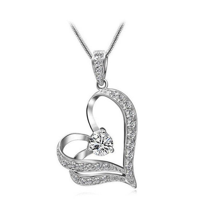 font b Fashion b font Women Crystal Rhinestone Heart Silver Chain Pendant Necklace font b