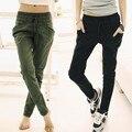 Nuevas mujeres de Color Puro Pantalones Largos Flojos Ocasionales elásticos de la cintura Pierna Pequeña Apertura Harén Pantalones pantalones 3 Colores 22