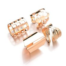 2018 New 4 pcs 1sets Punk Gold Silver Color Leaves Big Size Knuckle Ring Set 2017 Hot Hollow Flowers Rings For Women best Gift(China)