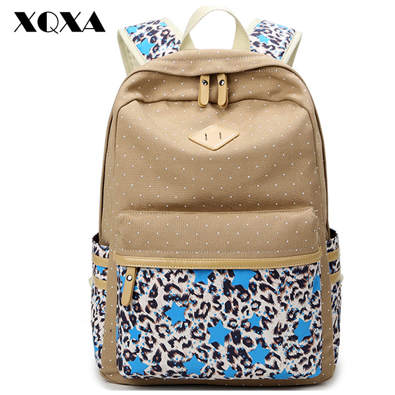 XQXA Brand High Quality Canvas Bag Backpack School for Teenager Girl Printing Backpacks Women Casual Daypack