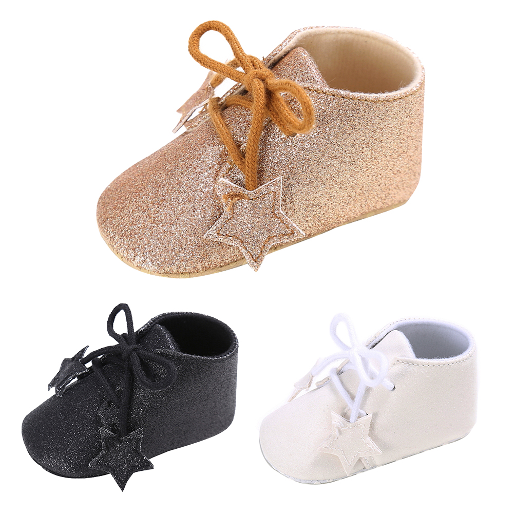 Lovely Baby Newborn Crib Shoes Girls Toddler Stars Shining Sneakers Baby Lace-up First Walkers Shoes PU Leather Soft Prewalkers
