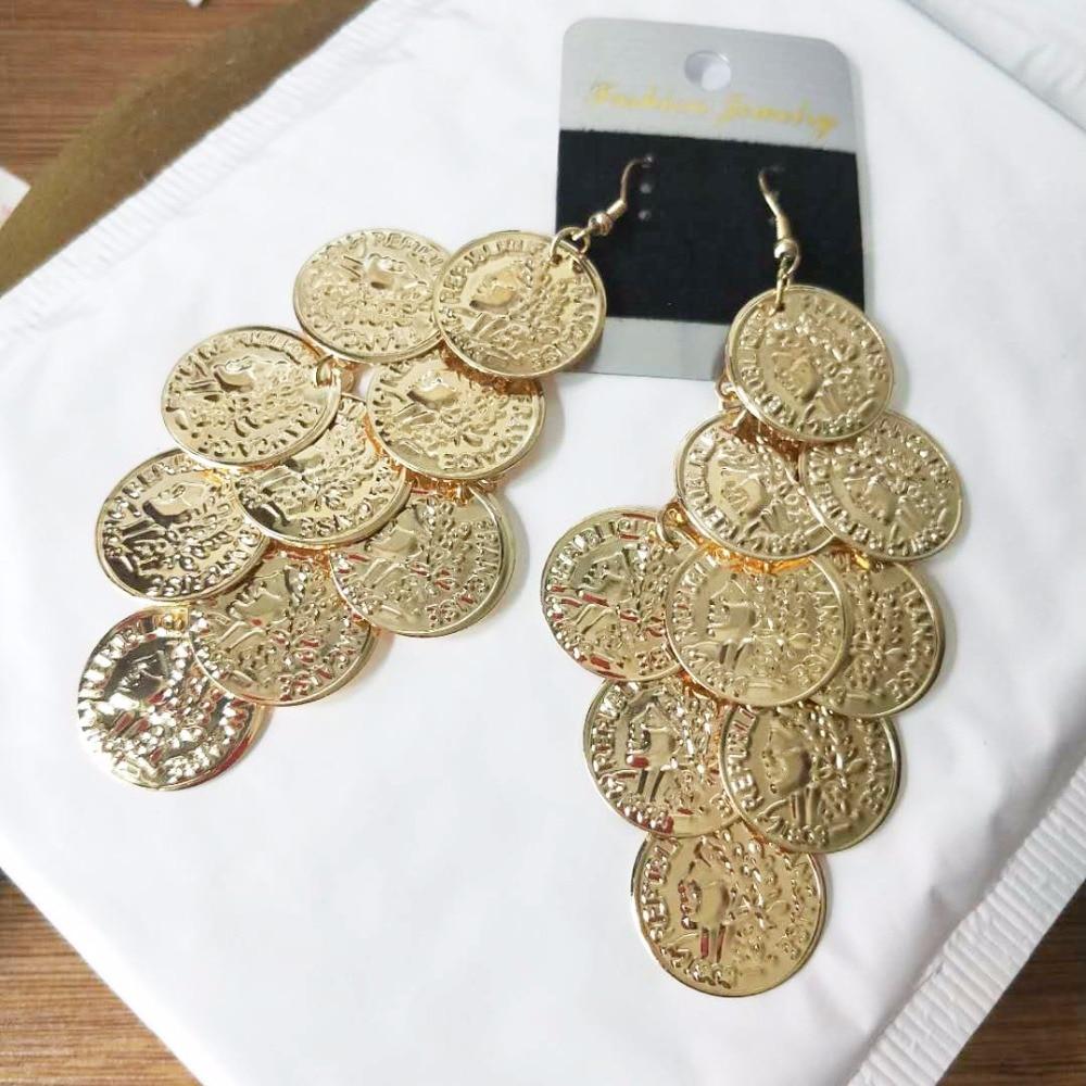 Gaya baru Koin Tari Penurunan Anting Rumbai Wanita Warna Emas Logam Menjuntai Anting Perhiasan Pernyataan Besar Bohemia
