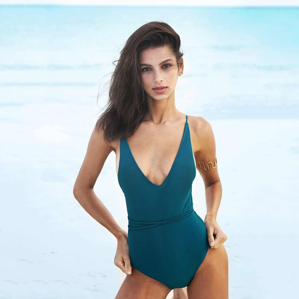 c36eec18ee3f1 ... CUPSHE Watch The Clouds Solid One-piece Swimsuit Backless Deep V neck  Summer Sexy Bikini ...