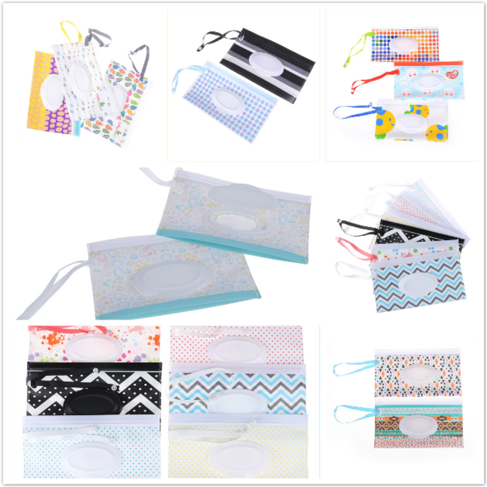 Eco-friendly Easy-carry Clutch And Clean Wipes Carrying Case Clamshell Snap-strap Wipes  Container Wet Wipes Bag Cosmetic Pouch