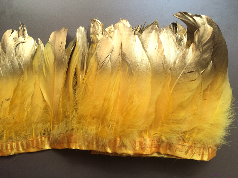 Free shipping 6 meters/lot Gold Yellow Paint Gold tipped Goose Feather trims Fringes 13-18cm for cloth accessory