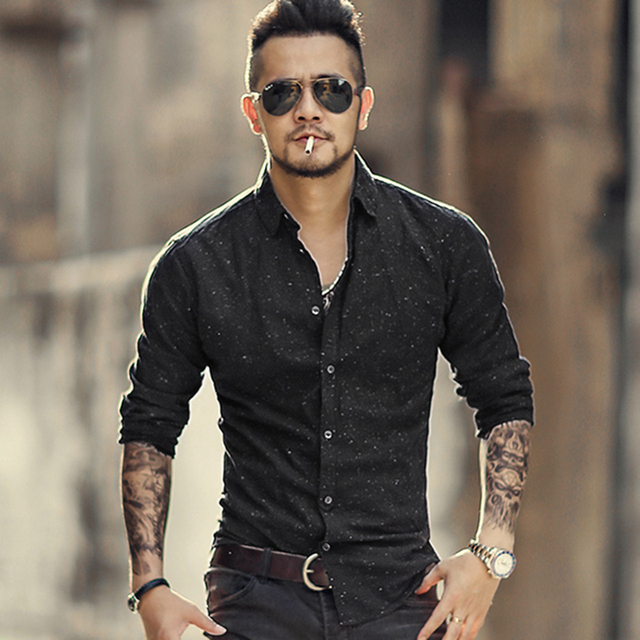 Mens European Style Mixing Color Spring Black Printed Long