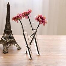 Стекло ваза 20 см маленькая свежая 3 прозрачный Тесты трубка сиамские ваза для цветов Украшения дома и офиса