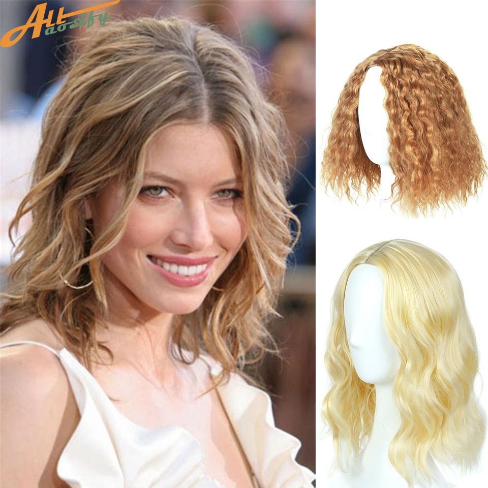 Allaosify Short Curly Bob Wig Blonde Synthetic Wigs for Black Women Hair Net Included Short Wavy Curly Bob Hair