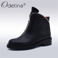 Odetina Fashion High Quality Women Comfortable Chunky Heels Front Zipper Ankle Boots Round Toe Shoes Autumn Winter Plus Size 42