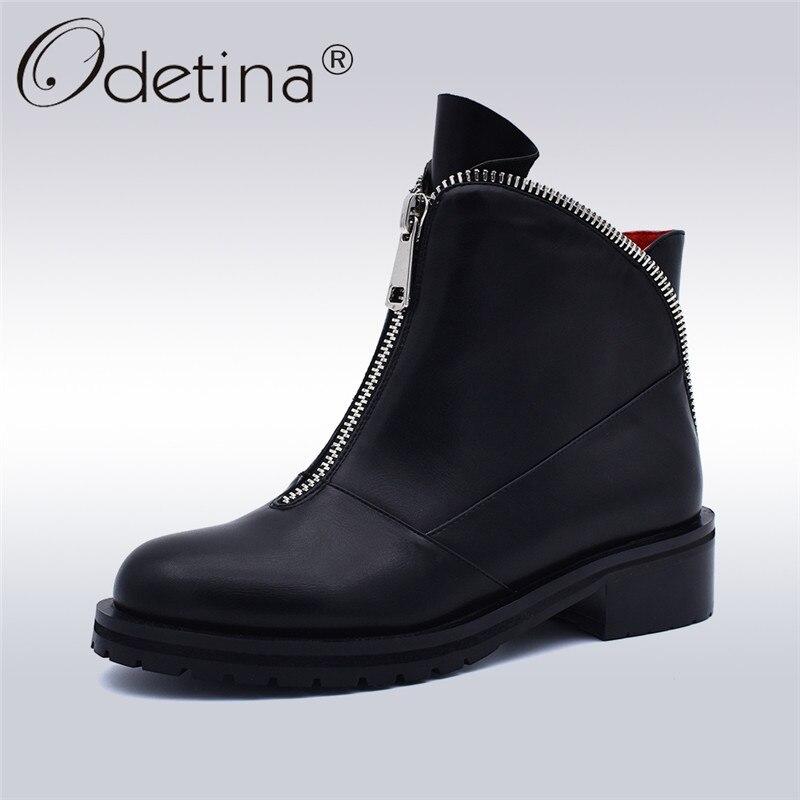 Odetina Moda Mulheres de Alta Qualidade Confortável Salto Robusto Ankle Boots Com Zíper Frontal Sapatos Dedo Do Pé Redondo Outono Inverno Plus Size 42