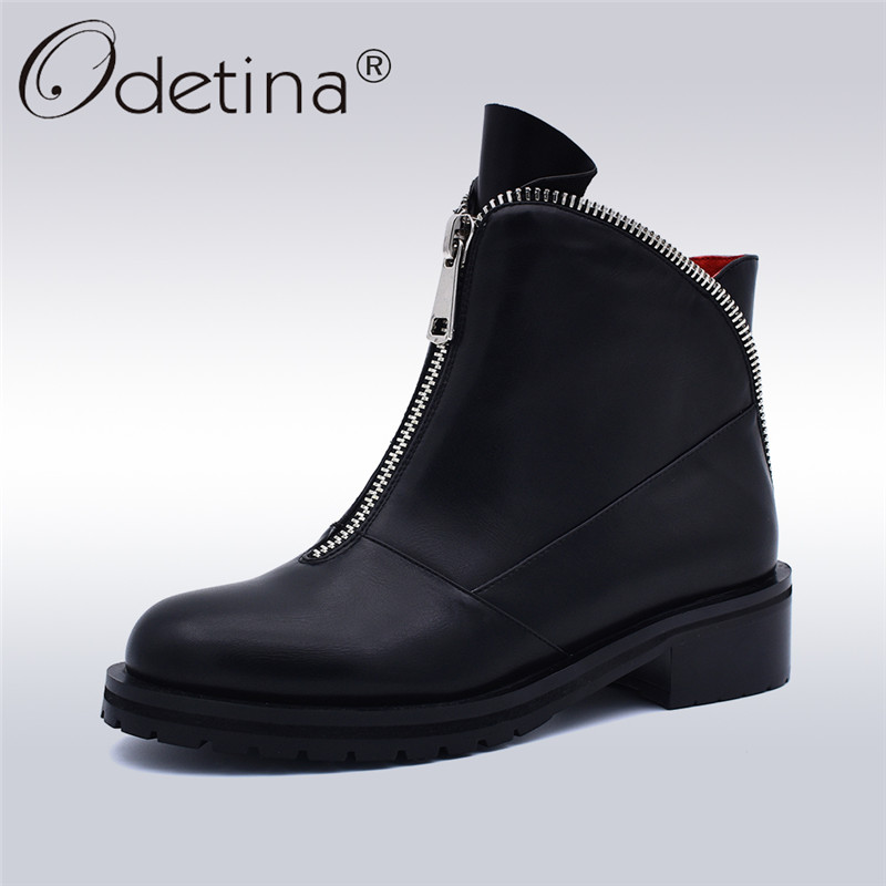 Odetina moda las mujeres de alta calidad cómodo tacones gruesos tobillo de la cremallera frontal zapatos de punta redonda otoño invierno más tamaño 42