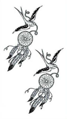 ec171177899c1 Waterproof Temporary Fake Tattoo Stickers Grey Swallows Dreamcatcher Design  Body Art Make Up Tools