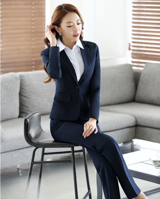 Diseño Uniforme Formal de las mujeres 2016 Otoño Invierno Profesional Trajes de Pantalón Con Blazers Chaquetas Y Pantalones Señoras de la Oficina Pantalones Conjuntos