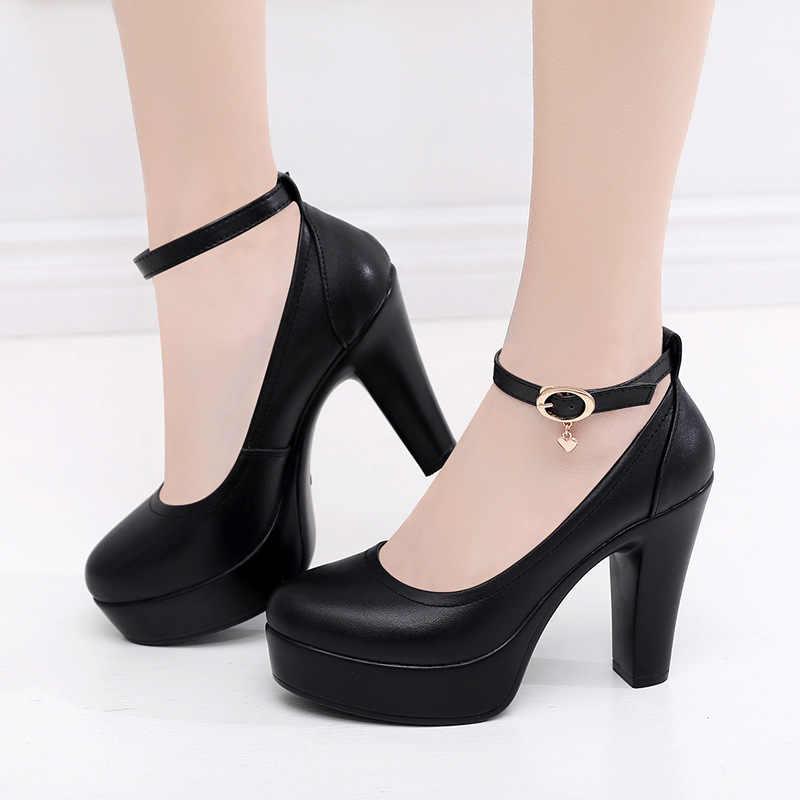 SONDR nền tảng dày gót giày phụ nữ 2019 vuông kích thước lớn mùa hè zapatos de mujer đen bạc bơm sexy nông scarpe donna