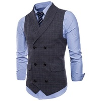 2019 mens Business Casual Plaid Vest gentleman slim Double breasted British style vest Waistcoat male Sleeveless jacket coat Top
