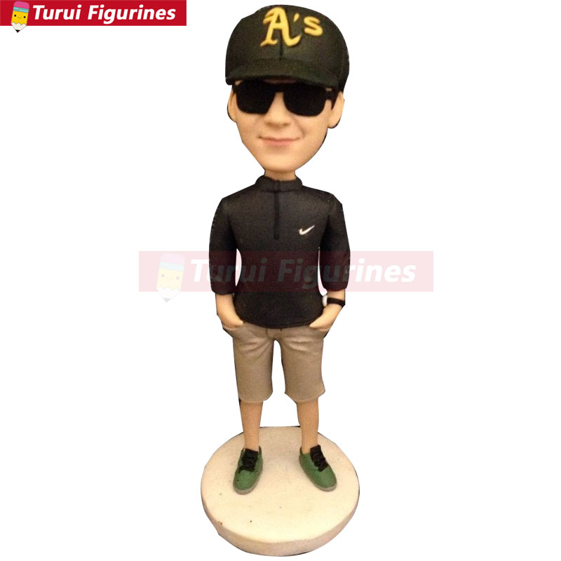 Aircraft Commander Fully Customer Design Bobble Head Clay Figurine Based on Customers 39 Photos Using As Birthday Cake Topper Gift in Statues amp Sculptures from Home amp Garden