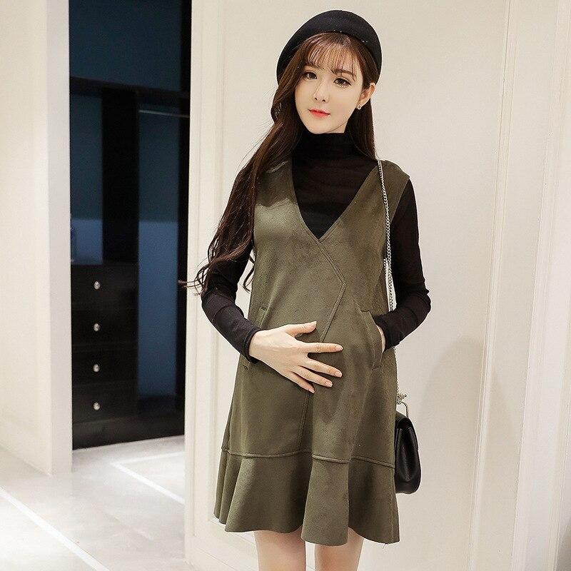 Spring Winter Pregnant Woman Dress 2pcs Vest Dress + Long Sleeve Shirt Maternity Long Sleeve Vest Dresses Maternity Clothes H29