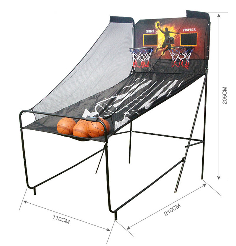 Home Dual Shot Basketball Arcade Game Foldable Shooting Machine With LED Electronic Scoring System Safe For Kids Adult
