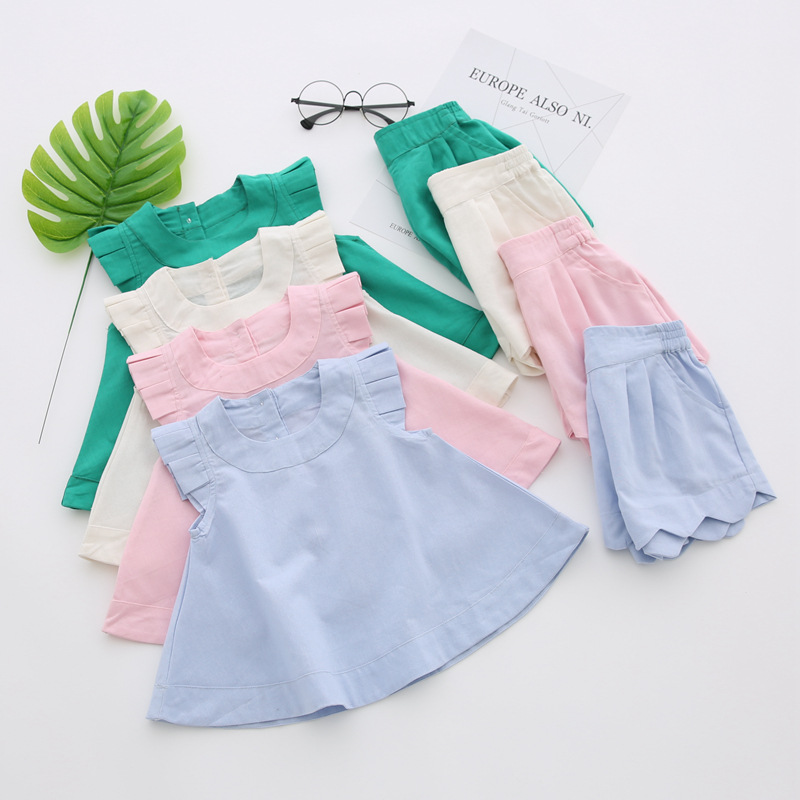 cbeeb7f79d5 Wholesale retail Baby Kids Girl Fashion Summer Cotton Linen Clothing Set  Tops Shirts+shorts Suits 1