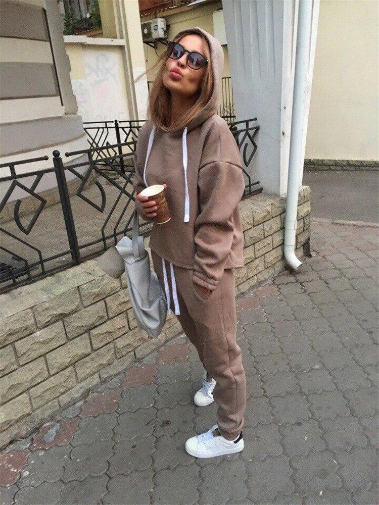 18 Autumn Tracksuit Long Sleeve Thicken Hooded Sweatshirts 2 Piece Set Casual Sport Suit Women Tracksuit Set 5