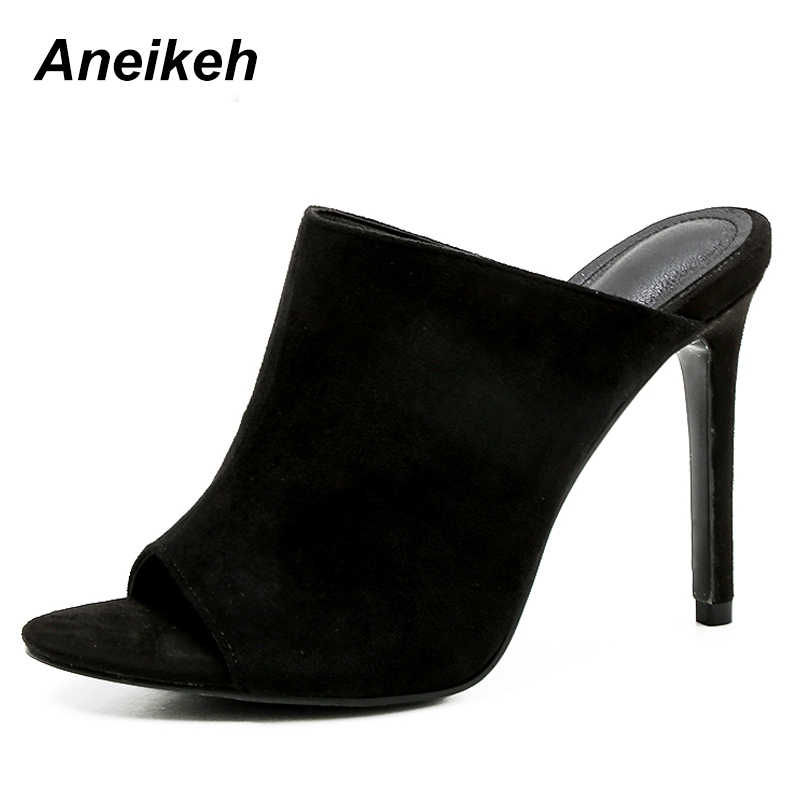 a58c2ccf936 Aneikeh Best Sellers Flock Mules Slippers Stiletto Pumps Sandals ...