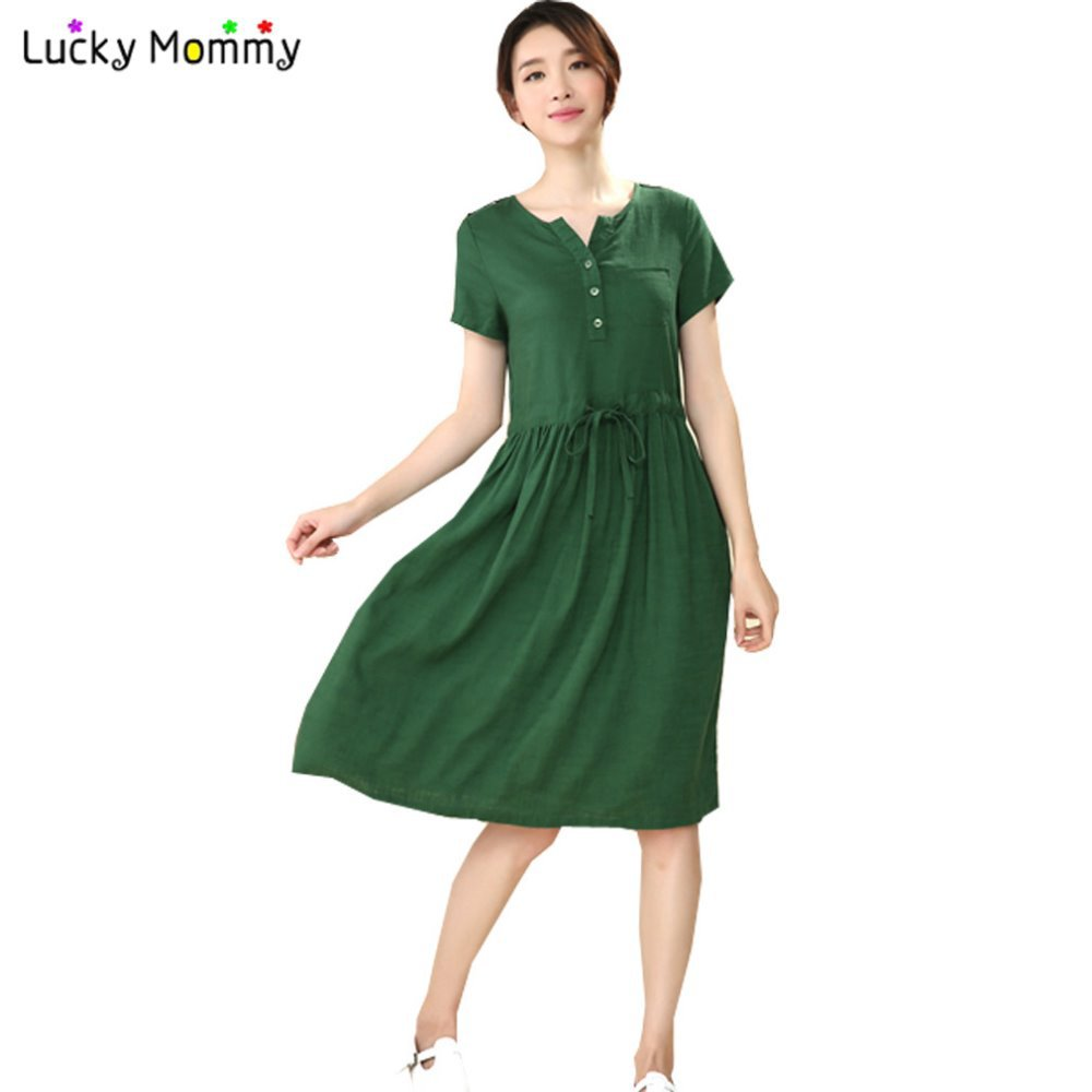 Online get cheap hot pregnancy dresses aliexpress alibaba group hot sale v neck linen cotton maternity dresses casual loose summer pregnancy clothes long maternity ombrellifo Choice Image