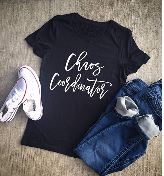 530c901bb Sugarbaby Caos Coordenador camisa mãe Vida Ocasional Tee Roupas T-Shirt mãe  professora Unisex Presente