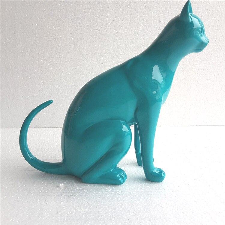 Résine nordique abstraite chat chanceux Sculpture décor à la maison artisanat résine animaux Figurines, Sculpture moderne, Statue de chat